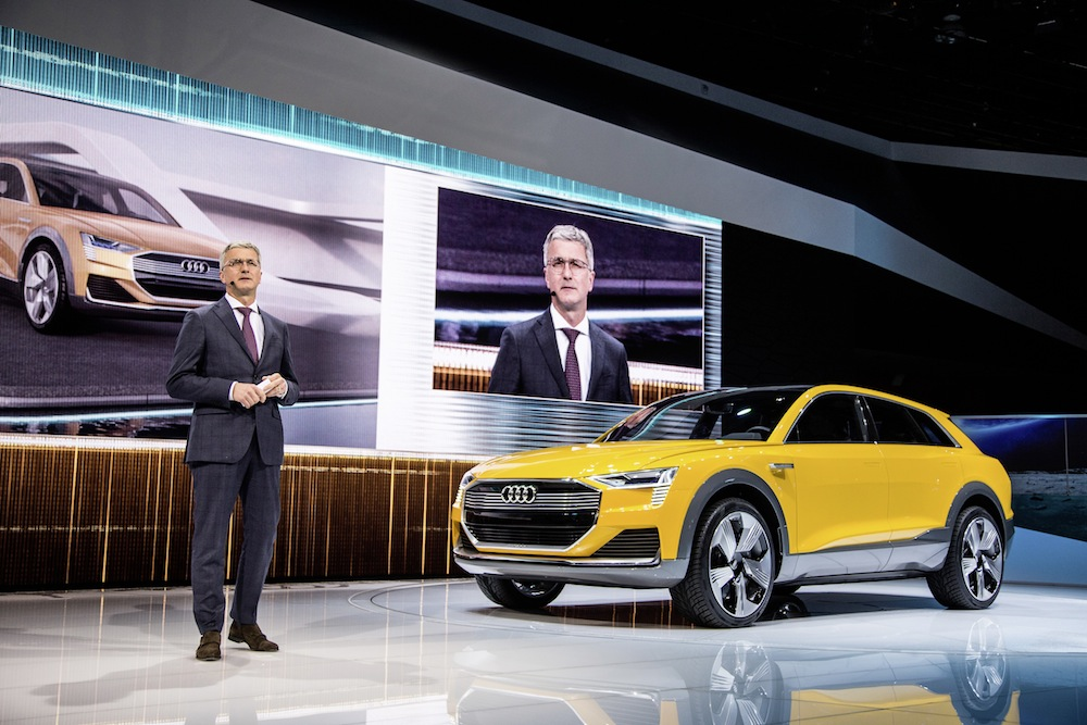 Prof. Rupert Stadler, Chairman of the Board of Management of AUDI AG, next to the Audi h-tron quattro concept, at the 2016 North American Auto Show in Detroit.